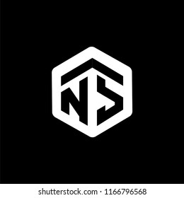 NS Initial letter hexagonal logo vector