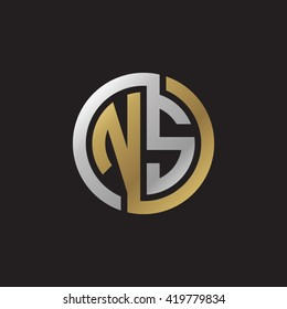 NS initial letters looping linked circle elegant logo golden silver black background