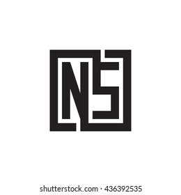 NS initial letters looping linked square monogram logo