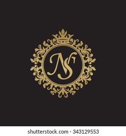 NS initial luxury ornament monogram logo