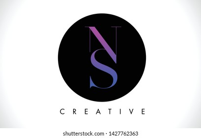 NS Letter Design Logo with Black and White Colors Trendy Vector Illustration.