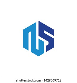 NS logo design, with white background. eps 10.