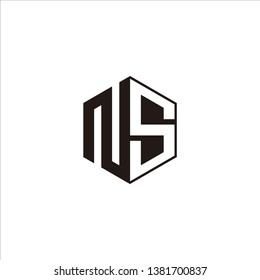 NS Logo Initial Monogram Negative Space Designs Modern Templete with Black color and White Background