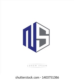 NS Logo Initial Monogram Negative Space Design Template With Blue Navy and Grey color
