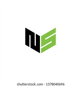 NS Logo Letter Initial With Black and Green Colors