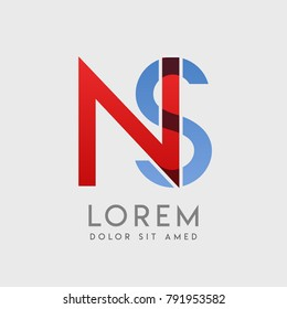 """NS logo letters with """"blue and red"""" gradation"""