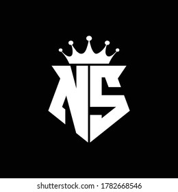 ns logo monogram shield shape with crown design template