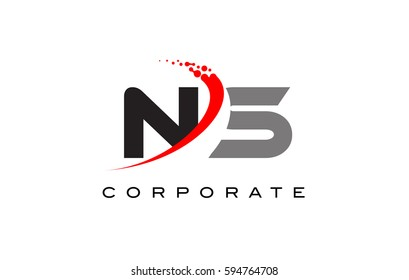NS Modern Letter Logo Design with Red Swoosh and Dots