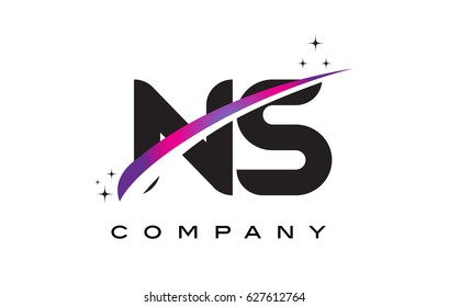 NS N S Black Letter Logo Design with Purple Magenta Swoosh and Stars.