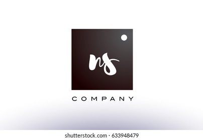 NS N S black white handwritten handwriting alphabet company letter logo square design template dot dots creative abstract