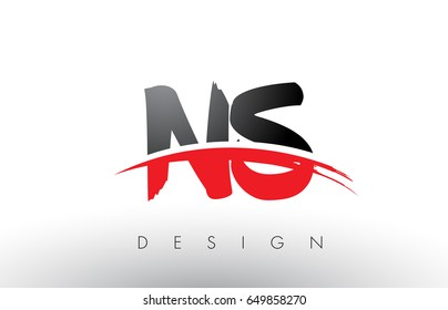 NS N S Brush Logo Letters Design with Red and Black Colors and Brush Letter Concept.