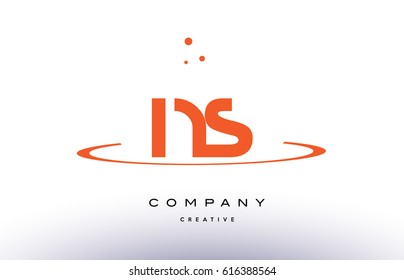 NS N S creative orange swoosh dots alphabet company letter logo design vector icon template