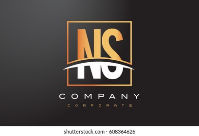 NS N S Golden Letter Logo Design with Swoosh and Rectangle Square Box Vector Design.