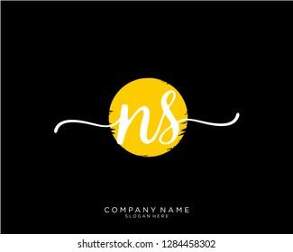 NS N S Initial handwriting logo template