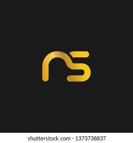 NS or N S letter alphabet logo design in vector format.