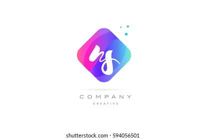 ns n s  pink blue rhombus abstract 3d alphabet company letter text logo hand writting written design vector icon template
