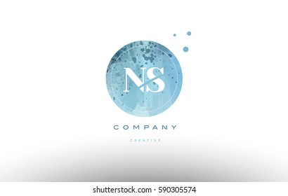ns n s  watercolor grunge vintage alphabet company letter combination logo circle design vector icon template