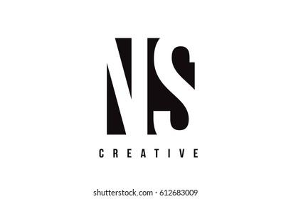 NS N S White Letter Logo Design with Black Square Vector Illustration Template.