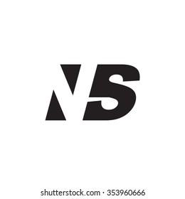 NS negative space letter logo