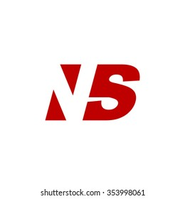 NS negative space letter logo red