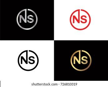 NS text gold black silver modern creative alphabet letter logo design vector icon