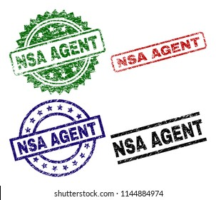 NSA AGENT seal prints with distress texture. Black, green,red,blue vector rubber prints of NSA AGENT tag with scratched style. Rubber seals with circle, rectangle, rosette shapes.
