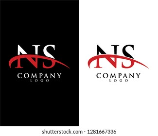 ns/sn initial letter logotype company logo swoosh design vector