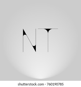 NT Black thin minimalist LOGO Design with Highlight on Gray background.