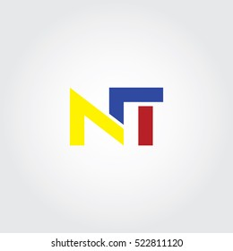 NT flat initial letter logo combining yellow, blue and red