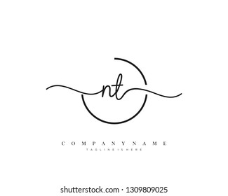 NT initial handwriting logo template vector