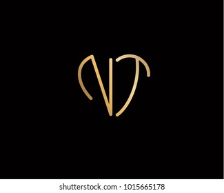 NT initial heart shape gold colored logo