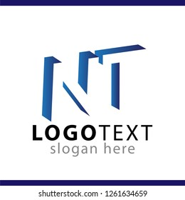 NT initial letter with negative space logo icon vector template