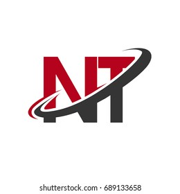 NT initial logo company name colored red and black swoosh design, isolated on white background. vector logo for business and company identity.