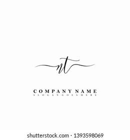 NT Initial luxury handwriting logo vector
