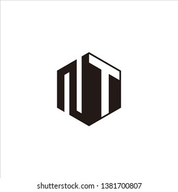 NT Logo Initial Monogram Negative Space Designs Modern Templete with Black color and White Background