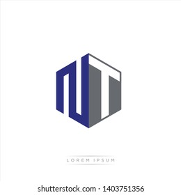 NT Logo Initial Monogram Negative Space Design Template With Blue Navy and Grey color