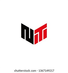 NT Logo Letter Initial With Red and Black Colors