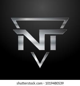 NT Logo, Metal Logo, Silver Logo, Monogram, Polygon