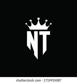 NT logo monogram emblem style with crown shape design template