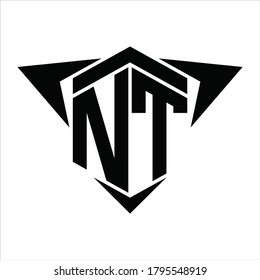 NT Logo monogram with wings arrow around design template on white background