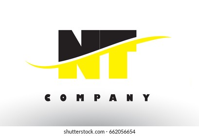 NT N T  Black and Yellow Letter Logo with White Swoosh and Curved Lines.