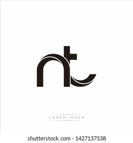nt n t Initial Letter Split Lowercase Modern Monogram linked outline rounded logo