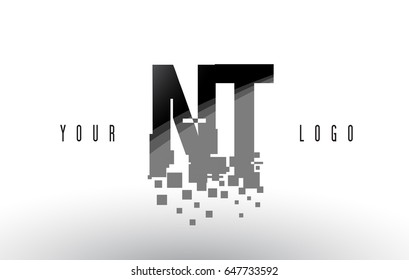 NT N T Pixel Letter Logo with Digital Shattered Black Squares. Creative Letters Vector Illustration.