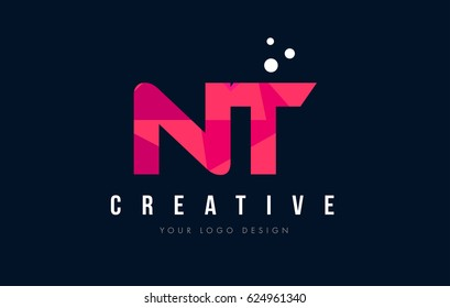 NT N T Purple Letter Logo Design with Low Poly Pink Triangles Concept