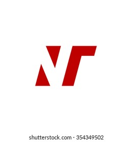 NT negative space letter logo red
