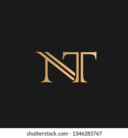 NT or TN logo vector. Initial letter logo, golden text on black background