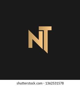 NT or TN logo vector. Initial letter logo, golden text on black background