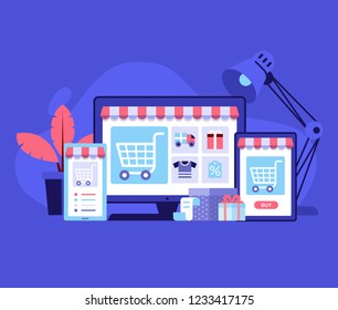nternet shopping concept with device screens. Online digital store application banner in flat design. E-commerce advertising illustration with shopping cart and goods. Order online background.