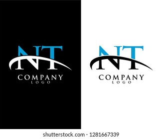 nt/tn initial letter logotype company logo swoosh design vector