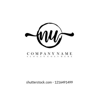 NU initial handwriting logo circle template vector